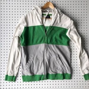 Oakley Tops - OAKLEY hooded zip sweatshirt green colorblock med